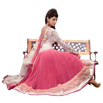 Hypnotex Faux Georgettte Off White and Pink Color Designer Dress Material Missindia5004A