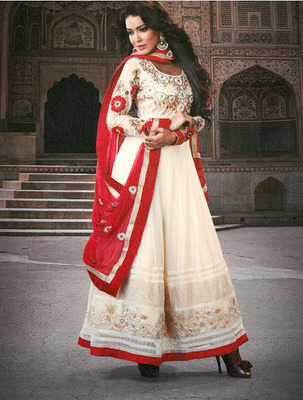 Charming Crimson & Off White  Faux Georgette & Senton Long Length Anarkali Salwar Kameez