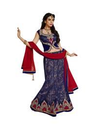 Buy multicolor net and Dupatta-Net Embroidered Work unstitched lehenga-choli lehenga-choli online