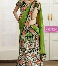 Buy multicolor Velvet  and Dupatta- Net Embroidered Work unstitched lehenga-choli lehenga-choli online