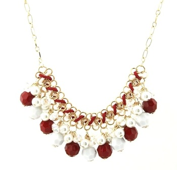 Red Bohemia Crystal Pearl Necklace