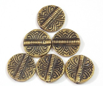 Button style round flat golden beads jewelry making