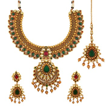 Traditional Ethnic Red Green Royal Gold Plated Necklace Set & Maang Tikka with Crystals for Women