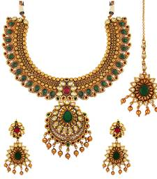 Buy Traditional Ethnic Red Green Royal Gold Plated Necklace Set & Maang Tikka with Crystals for Women necklace-set online