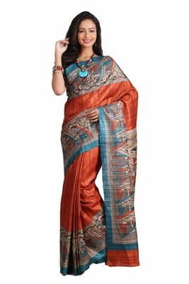 Multicolor Printed Raw Silk saree with blouse
