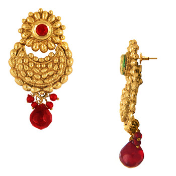 Traditional Ethnic Red Flower Gold Plated Dangler Earrings with Crystals for Women