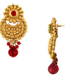 Buy Traditional Ethnic Red Flower Gold Plated Dangler Earrings with Crystals for Women danglers-drop online