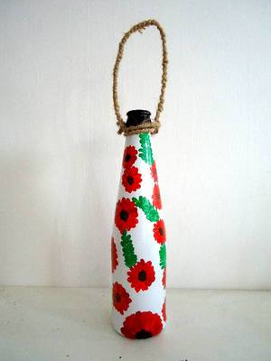 Handpainted bottle planters-Red