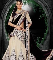 Buy Cream and Black Embroidered Net,Silk Designer Lehngha Choli with blouse pakistani-lehenga online