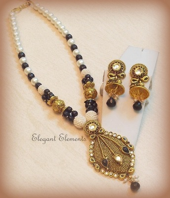 Black beauty classic kundan polki necklace set