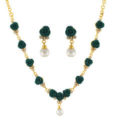 Buy Green Coral Rhodium necklace-sets fashion-deal online