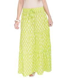 Buy Light Green Jaipuri Printed Cotton Long Skirt skirt online