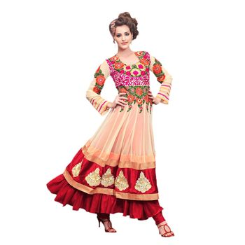 Hypnotex Net Cream and Maroon Color Designer Dress Material Look17001
