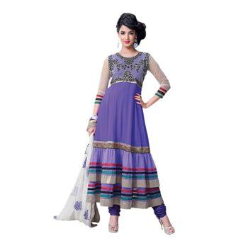 Hypnotex Georgette and Net Blue Color Designer Dress Material Model_Dobara1705B