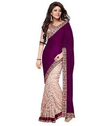 Buy purple embroidered velvet saree with blouse party-wear-saree online