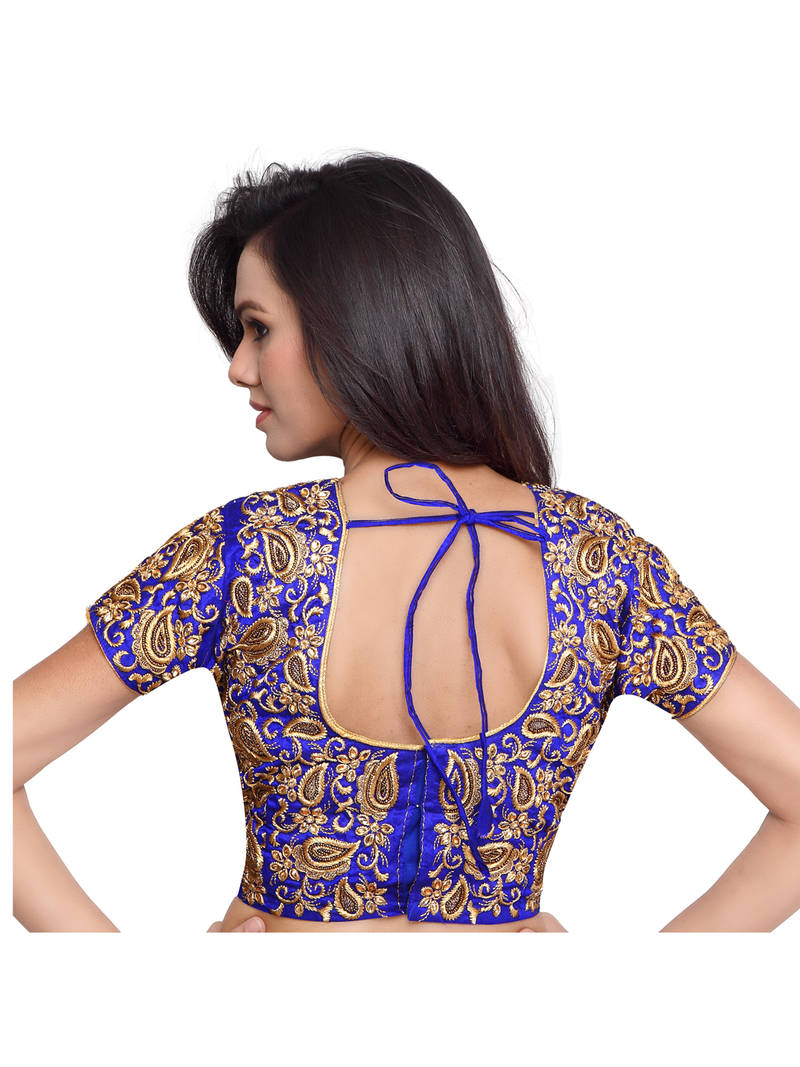 Buy Blue Color Raw Silk Embroidered Readymade blouse designs Online