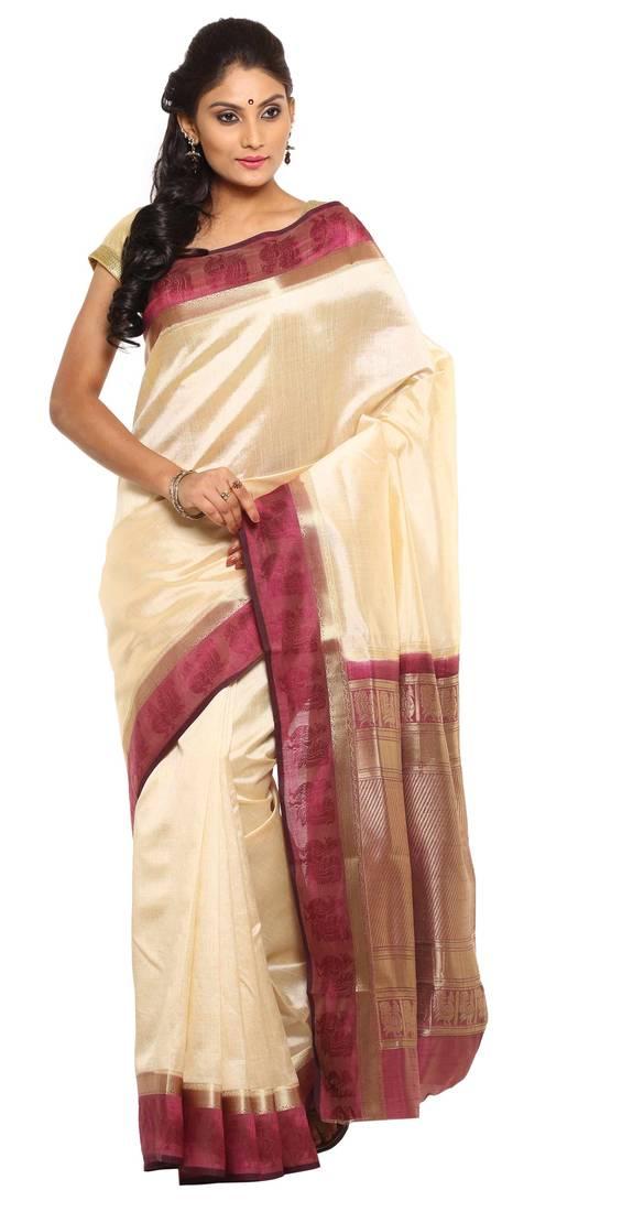 Buy White Plain Tussar Silk Saree With Blouse Online