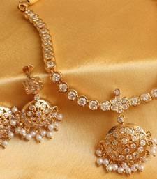 Buy BEAUTIFUL WHITE SOUTH INDIAN STYLE NECKALCE SET-DJ00137 eid-jewellery online