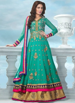 Green chanderi embroidered semi_stitched salwar with dupatta