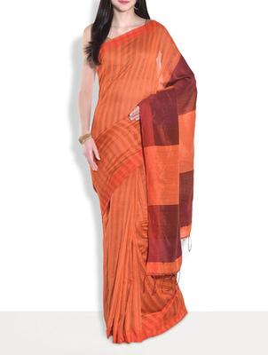 Maroon hand_woven handloom saree with blouse