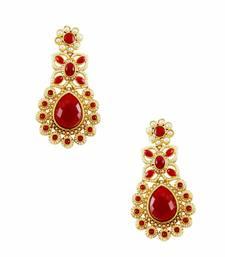 Buy Ruby Red Traditional Rajwadi Dangle Earrings Jewellery for Women - Orniza Earring online