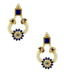 Buy Royal Blue Polki Stones Dangle Earrings Jewellery for Women - Orniza Earring online
