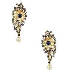 Buy Navy Blue Traditional Dangle and Drop Earrings Jewellery for Women - Orniza Earring online