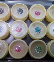 Buy 12 round bindi with crystal decorations other-apparel online