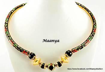 Black  jaipur Meenakari kada necklace