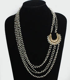Buy White pearls side chaand necklace Necklace online