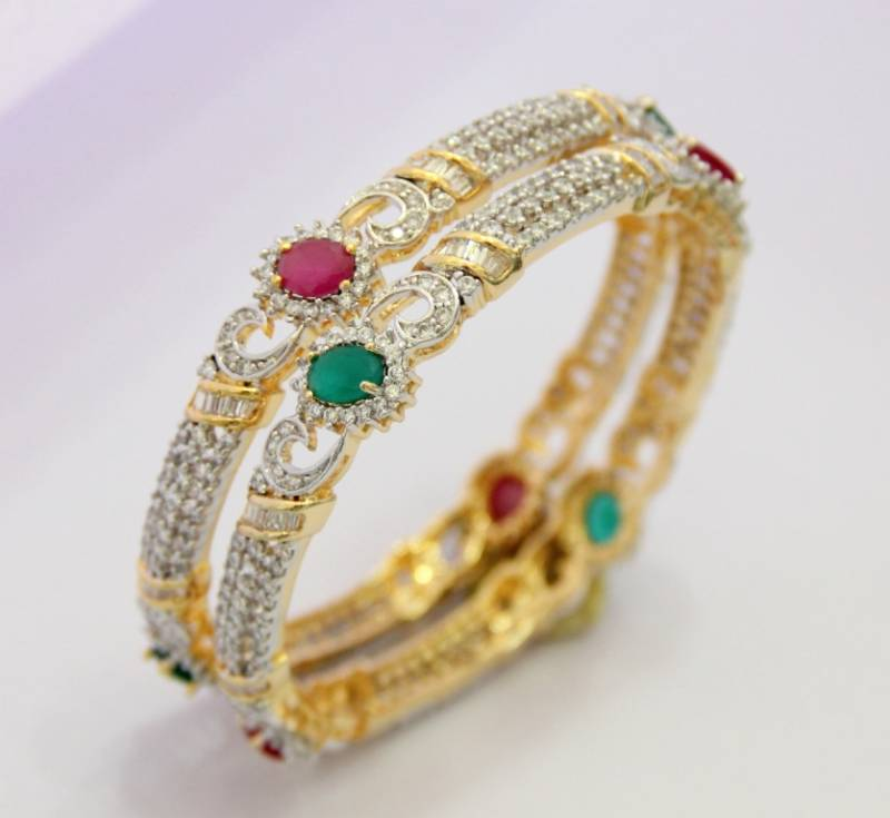 Buy BEAUTIFUL CZ STONE STUDDED BANGLES Online