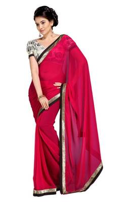 Gorgeous Elegant Georgette Designer Saree With Silk Blouse Piece D.No A7054