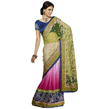 Hypnotex Net and Georgette Pink and Green Color Designer Dress Material Starplus7206