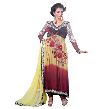 Hypnotex Satin Bemberg Yellow and Maroon Color Designer Dress Material Azzam1116