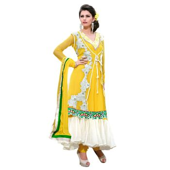 Hypnotex Net Yellow Color Designer Dress Material Azzam1117
