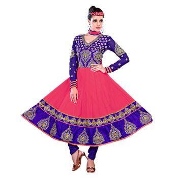 Hypnotex Georgette Pink Color Designer Dress Material Krishna2007