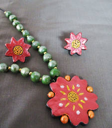 Buy Terracotta Flower Necklace With Matching Stud terracotta-jewelry online