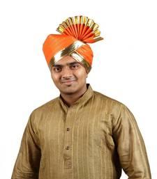 Buy eKolhapuri Orange Jari Lining with Broad Plain Golden Border Polyester Pheta (Turban) turban online