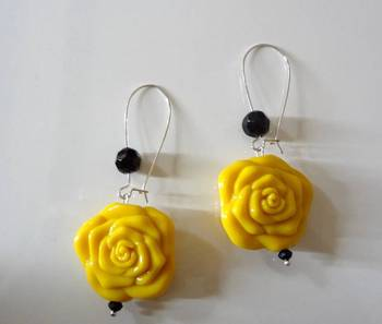 rose drop long earring  yellow