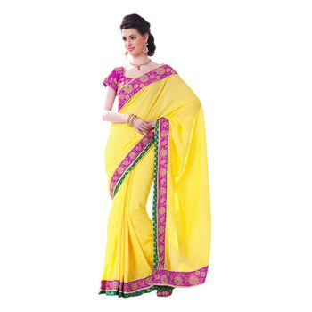 Hypnotex Art silk Yellow Color Designer Saree Violet111