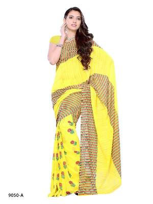 Rejoicing Yellow casual wear saree with colorful stripe pattern by DIVA FASHION- Surat