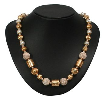 golden and white beads necklace