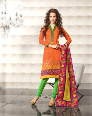 Metro Anarkali Chanderi Cotton Printed Embroidery Suit Materials D.No S1011