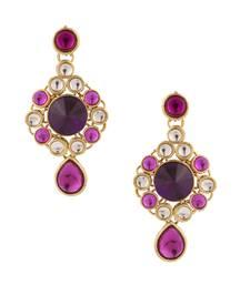 Buy Purple kundan flower earrings India jewelleryOREA0295PU danglers-drop online