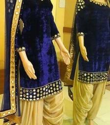 Buy Blue velvet embroidered semi stitched salwar with dupatta punjabi-suit online