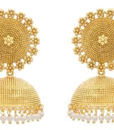 Buy JFL - Traditional Ethnic Antique One Gram Gold Plated Designer Jhumka jhumka online
