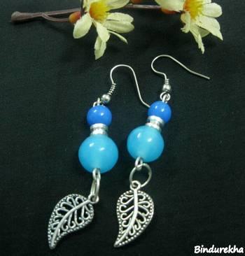 Blue_Beads_Small_Nakshi_Leaf_Earrings