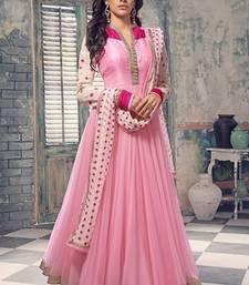 Buy Pink Georgette embroidered semi stitched salwar with dupatta salwar-kameez-below-2000 online