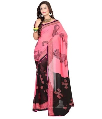pink and black embroidered georgette sareem with blouse