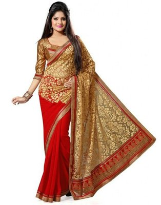 red and golden and cream embroidered georgette sareem with blouse